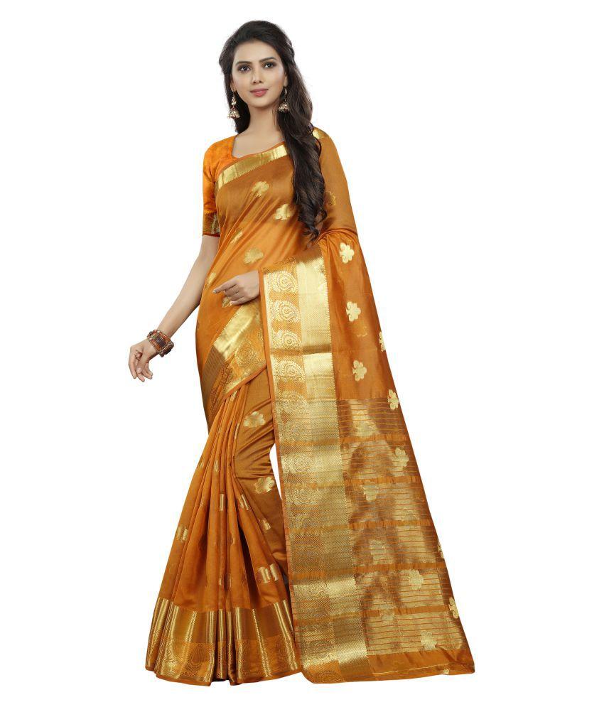 FASHION FESTIVAL HUB Yellow Cotton Silk Saree