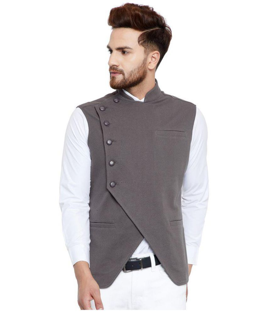 Hypernation Grey Cotton Nehru Jacket