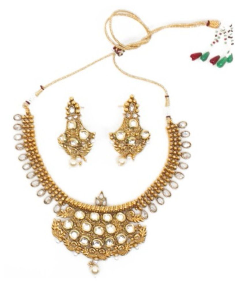 White World Gold plated Antique Kundan Necklace set For Women