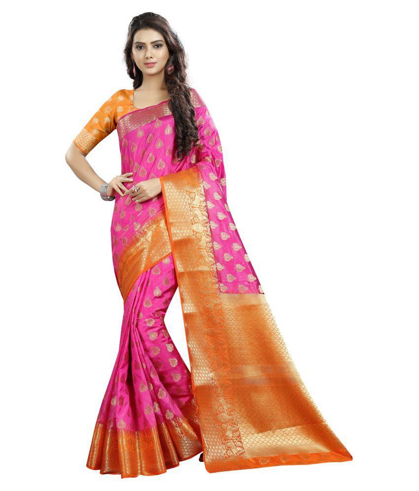 FASHION FESTIVAL HUB Pink and Orange Cotton Silk Saree