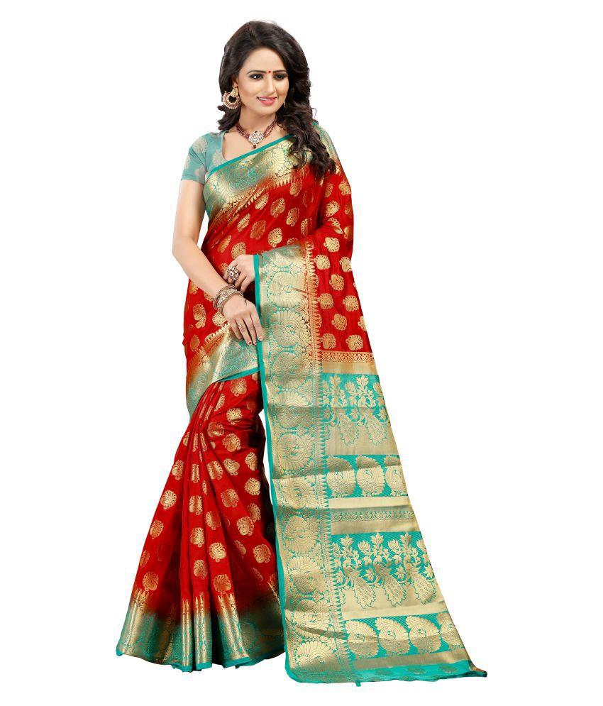 FASHION FESTIVAL HUB Red Cotton Silk Saree