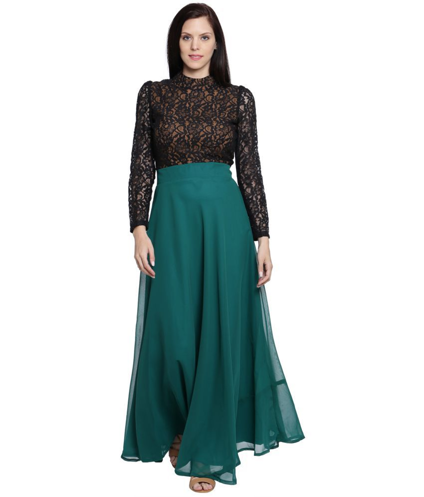 f6310995b21 Just Wow Georgette Green Fit And Flare Dress - Buy Just Wow Georgette Green  Fit And Flare Dress Online at Best Prices in India on Snapdeal