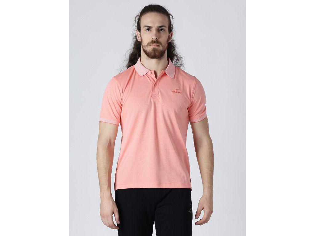 Alcis Mens Solid Orange Polo T-Shirt