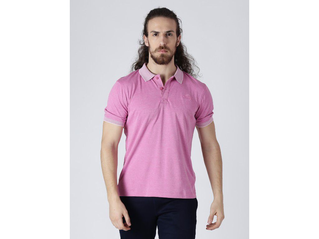 Alcis Mens Solid Pink Polo T-Shirt