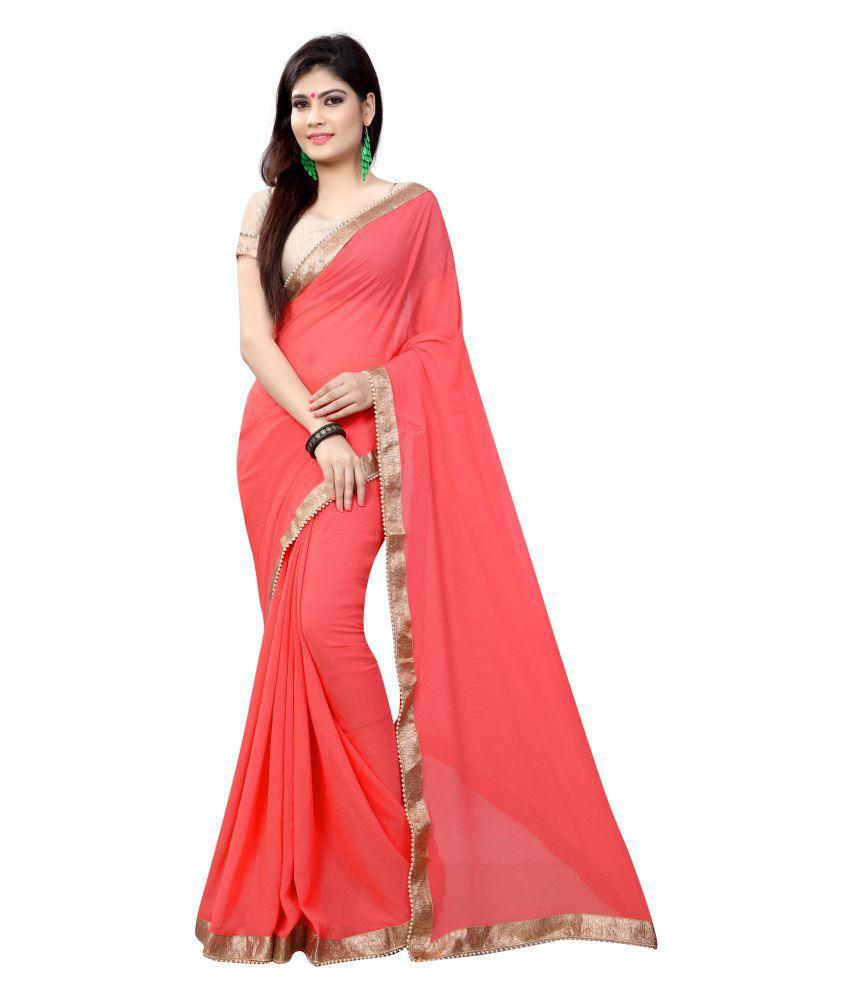 Avsar Prints Red and Pink Chiffon Saree
