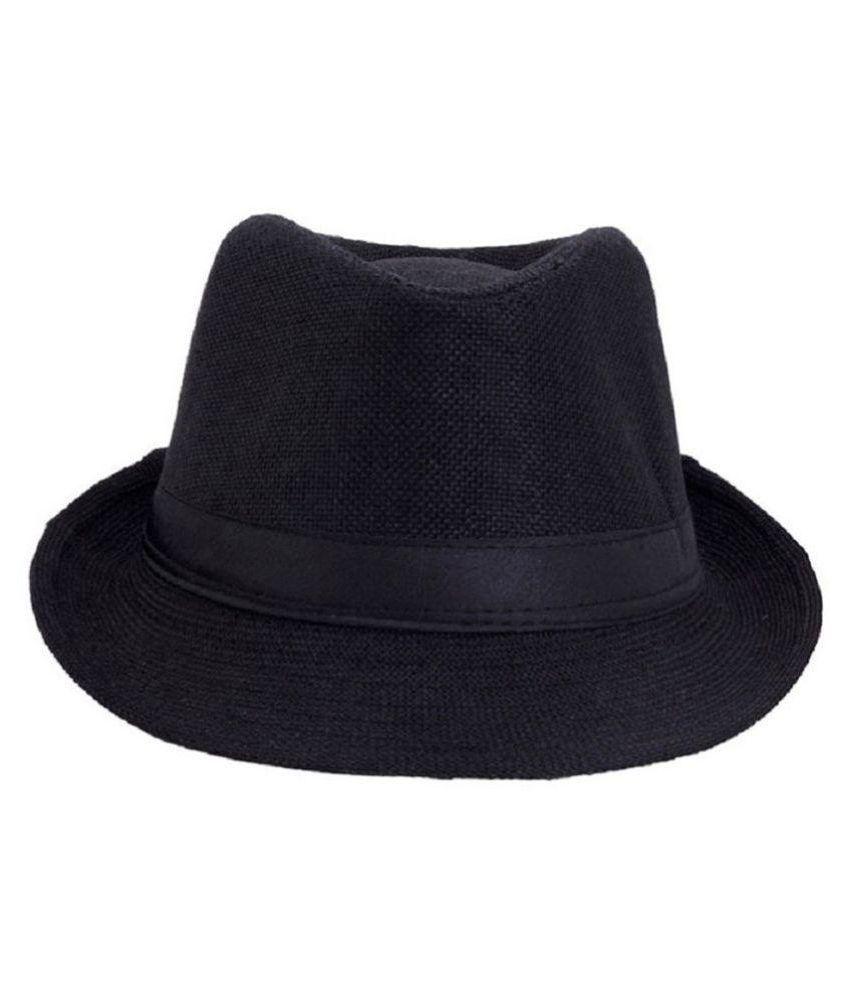 GOLD STAR Black Plain Cotton Hats
