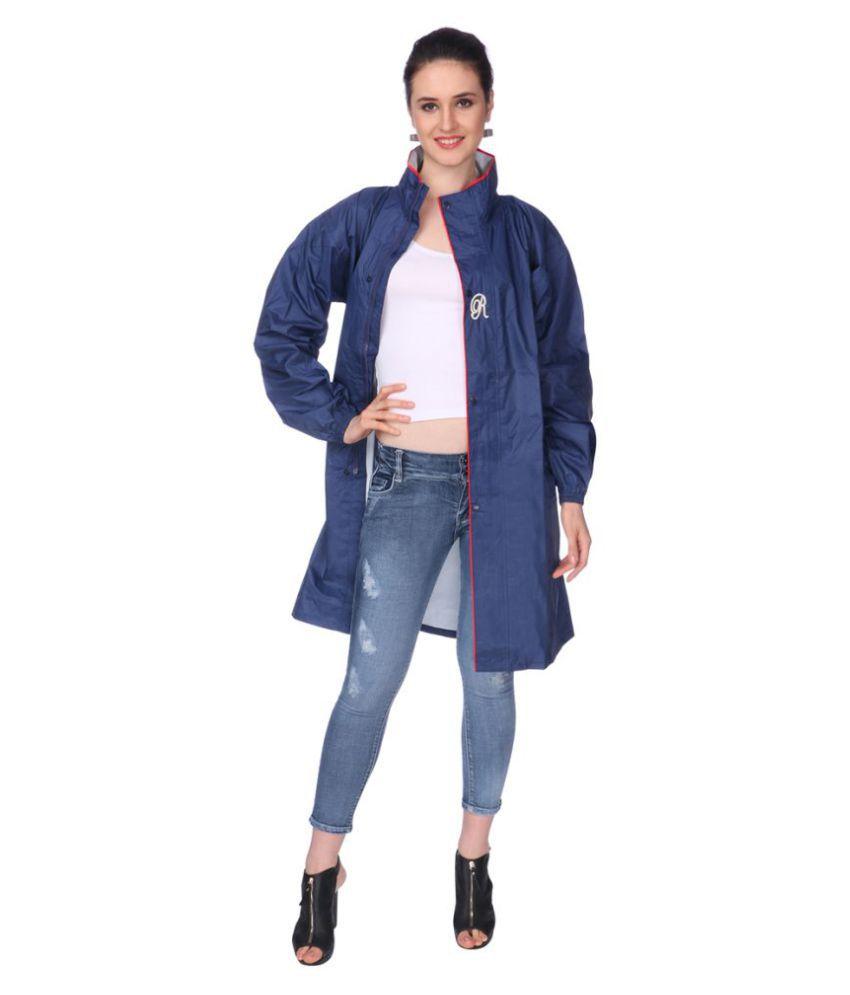 REAL Nylon Long Raincoat - Navy