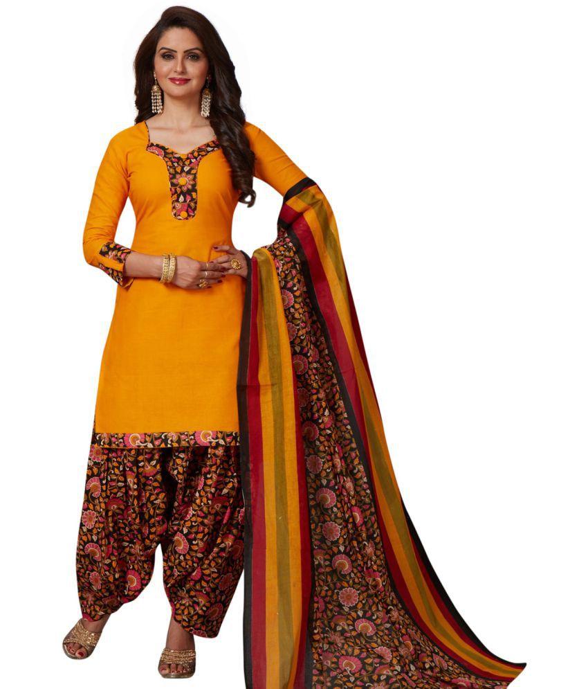 SALWAR HOUSE Yellow Cotton Dress Material