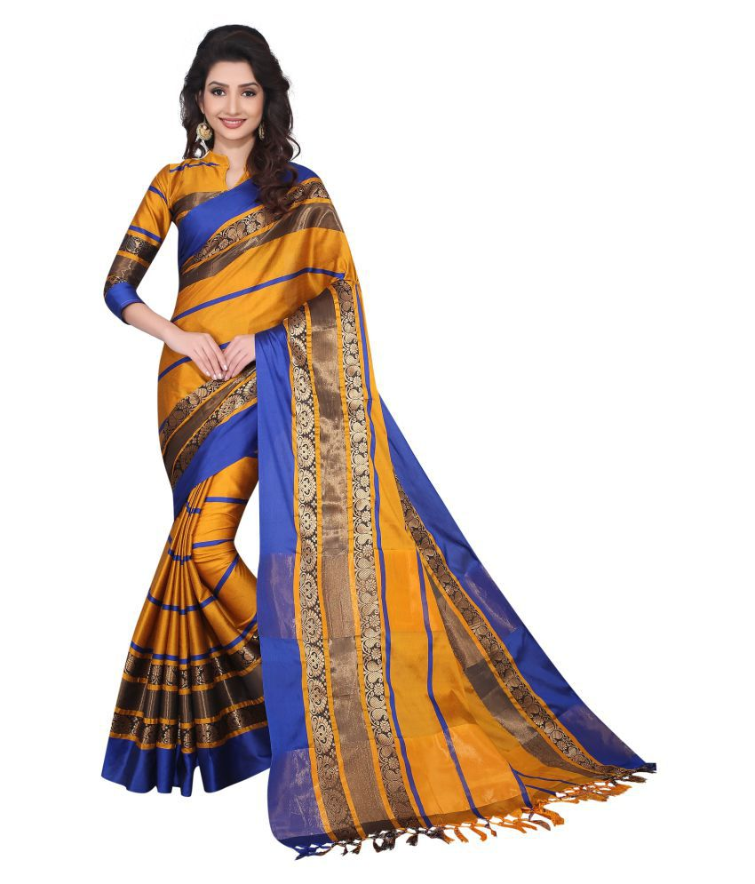 Niketan Ethnic Yellow Cotton Silk Saree