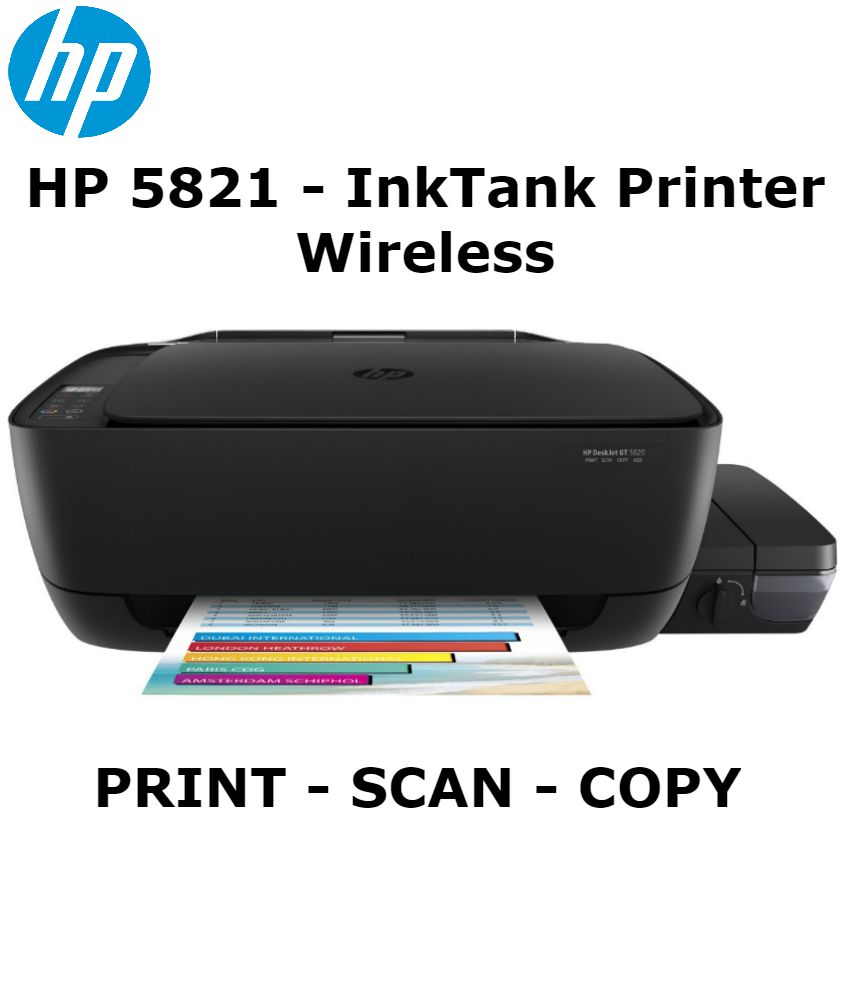 HP 5821 Multi Function Print Scan Copy Wifi Colored Wireless Ink
