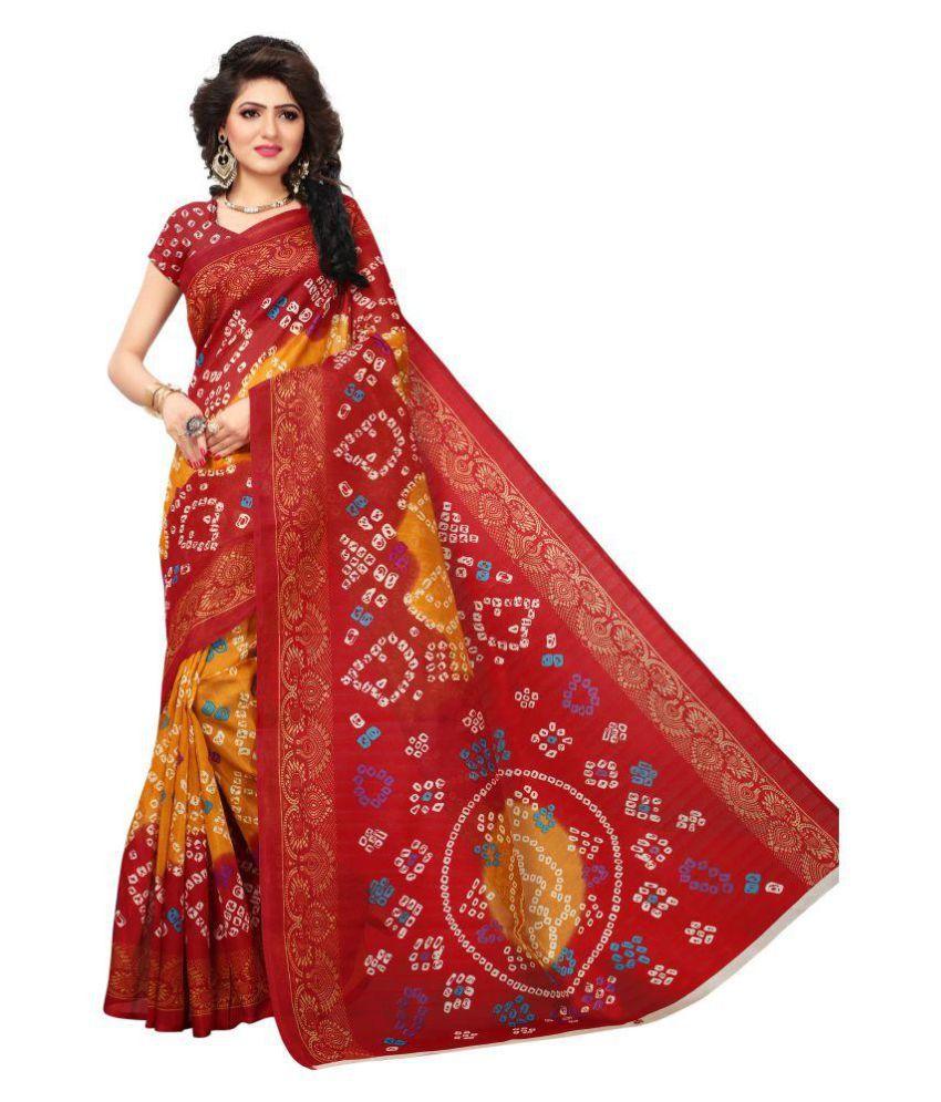STYLEELITE Red Bhagalpuri Silk Saree