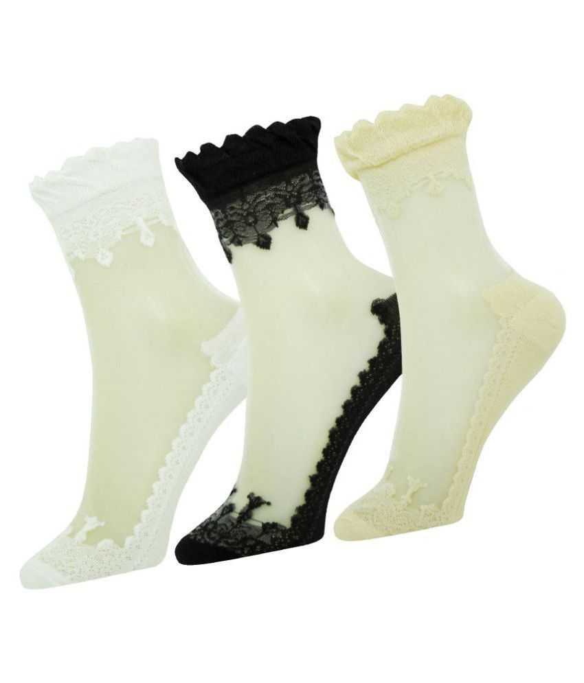 b86e00c27f54e Neska Moda Premium Women's 3 Pairs Cotton Net Ankle Length Socks-Multicolor:  Buy Online at Low Price in India - Snapdeal