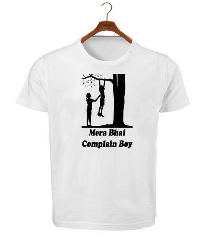 RITZEES White Dry Fit Polyester Tshirt on Mera bhai complain Boy