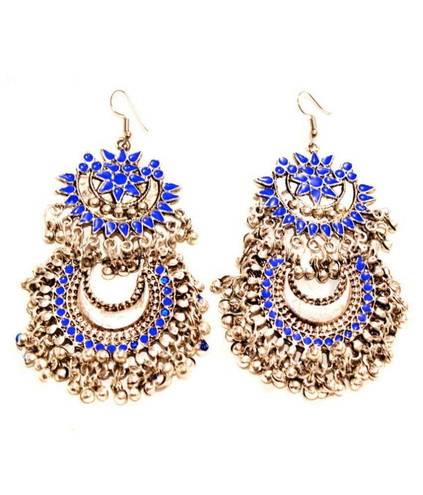 Designer Dark Blue Afghani Ethnic Jhumki Earrings by AMMAJI