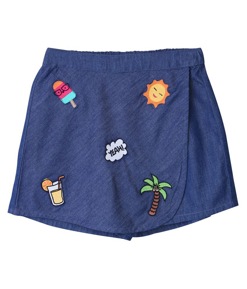 Funky Badge Applique Chambray Skorts Blue 3Y