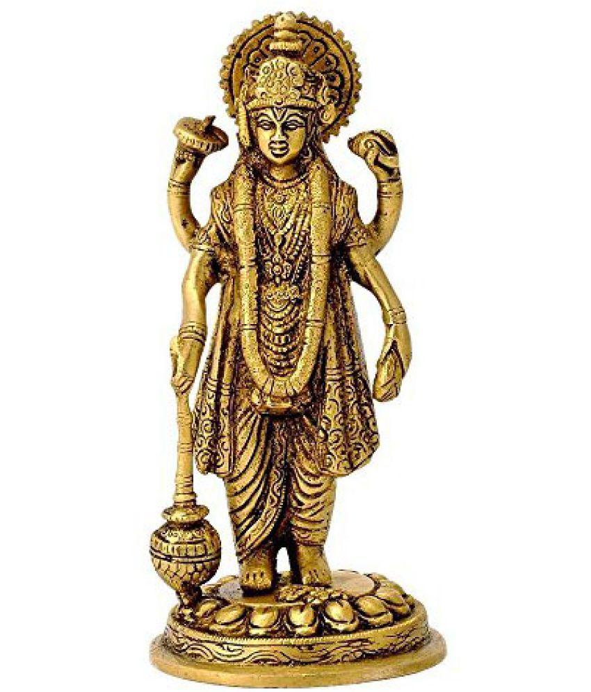 78a4c2d53d82 Kartique Standing Lord Vishnu Holding Club Brass Statue
