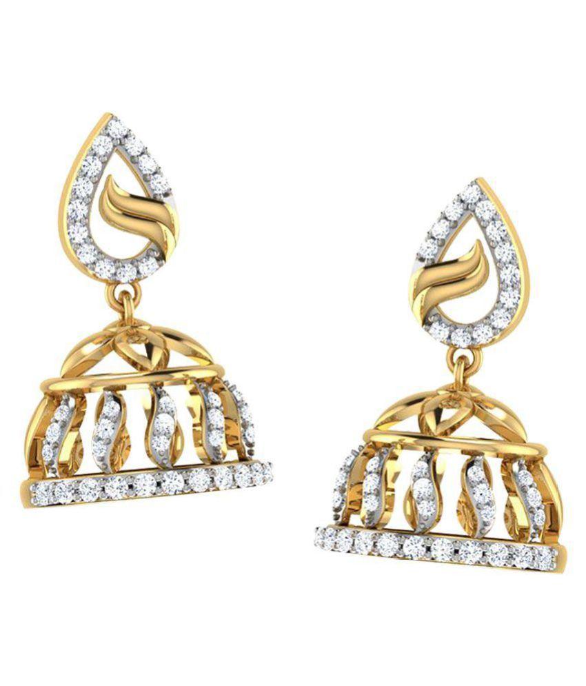 Amantran Gems And Jewels 14k Yellow Gold Diamond Hangings