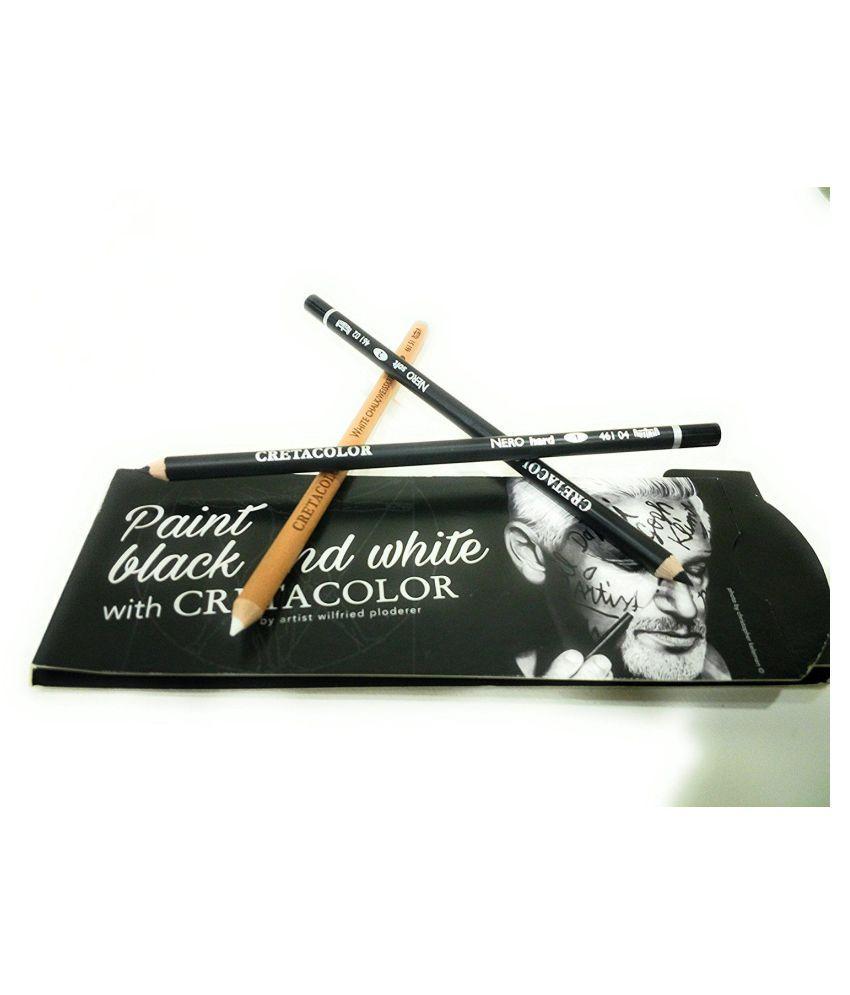 Cretacolor black white pencil set of 3 includes 2 nero soft and hard and 1 white chalk pencils
