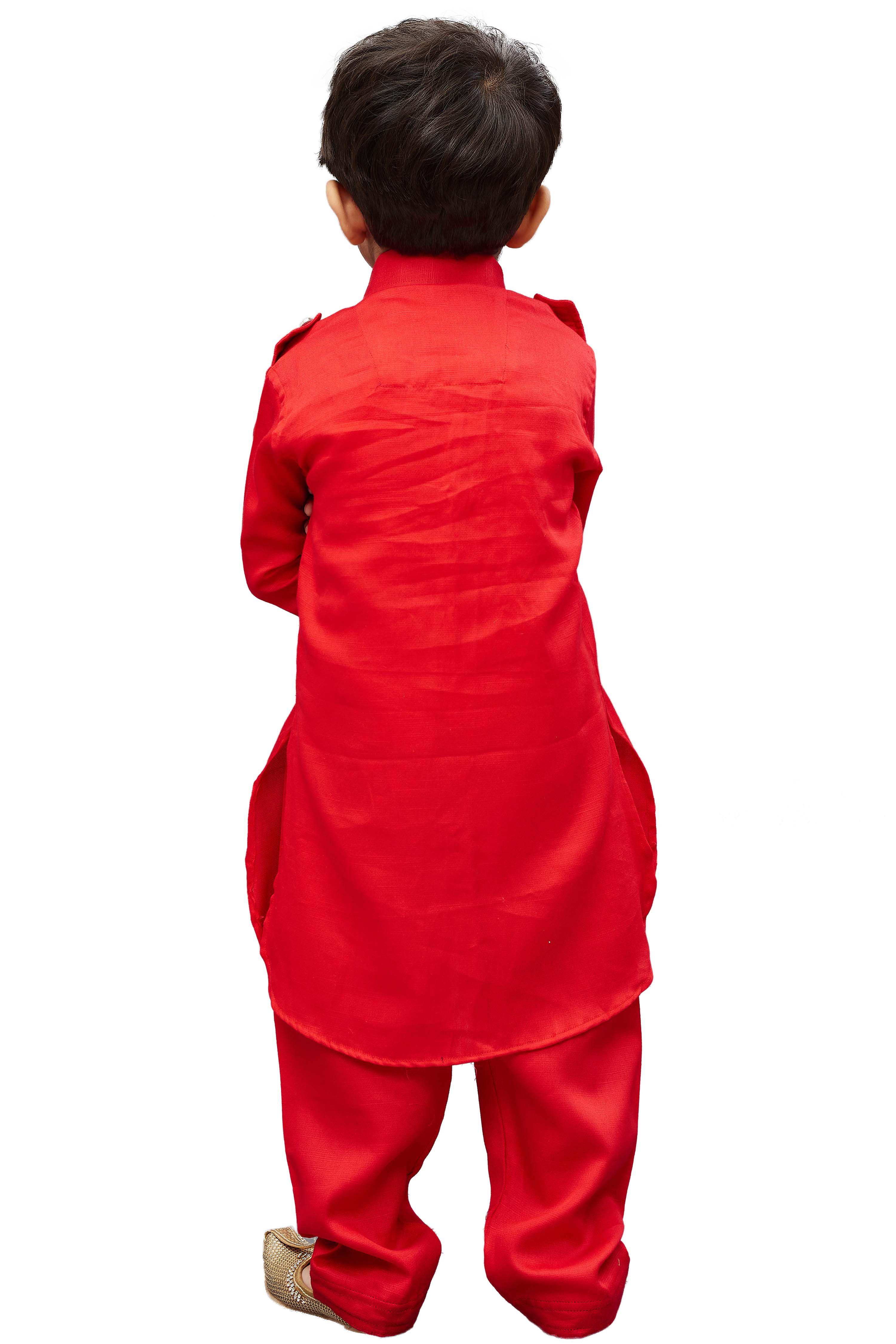 3a945a468 JBN Creation Boys  Red Cotton Pathani Khan Suit Set - Buy JBN ...