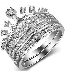 a94f29b40e Women's Fashion Queen Crown Pattern Ring Set Rhinestone Two-piece Rings