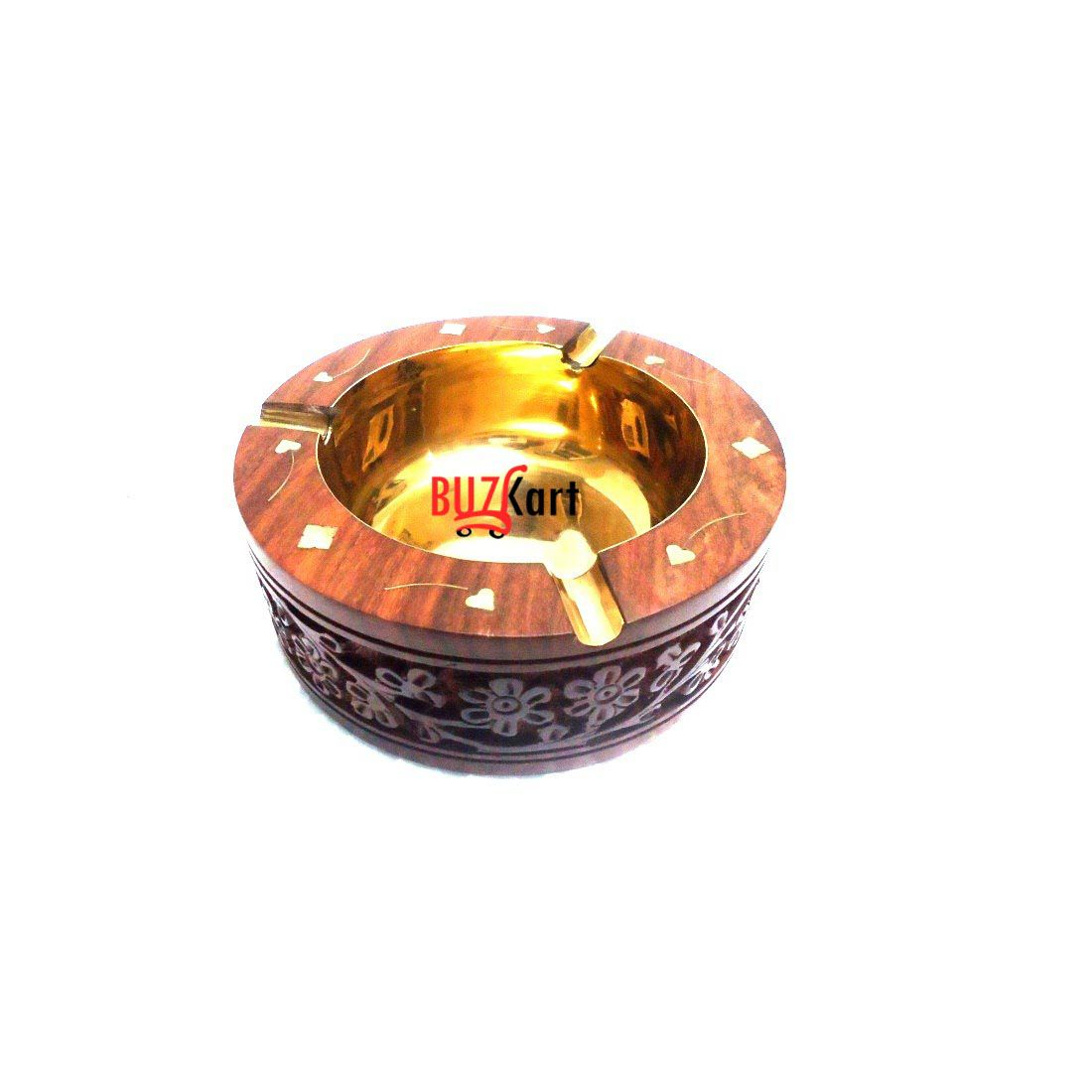 BuzyKart Sheesham Wood And Brass Round Handcrafted Ash Tray
