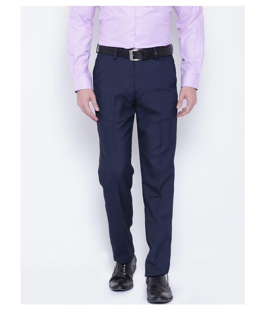 Style Blue Regular -Fit Flat Trousers