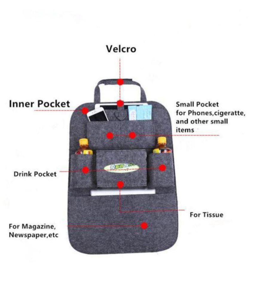 Homelux Multi Pocket Organizer for Front Seat Side Grey