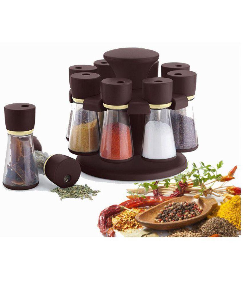 Inovant Plastic Revolving Spice Rack Masala Box Masla Rack Polycarbonate Spice Container Set of 8