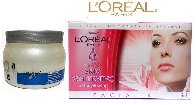 L'oreal Professional X tenso Spa & Paris Skin Whitening Facial Kit - Extra Glowing Face Makeup Kit gm: Buy L'oreal Professional X tenso Spa & Paris Skin ...