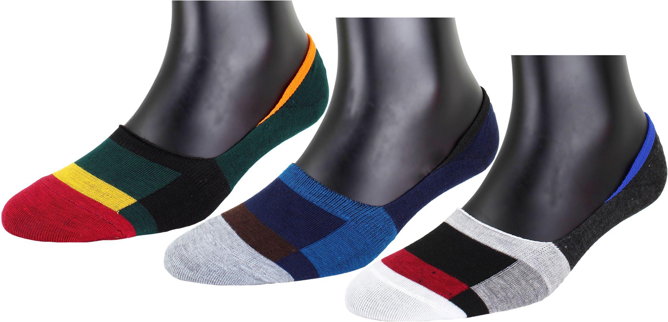 Neska Moda  Premium Men & Women 3 Pairs Green and Dark Blue Cotton No Show Loafer Socks With Silicon Gel-S972