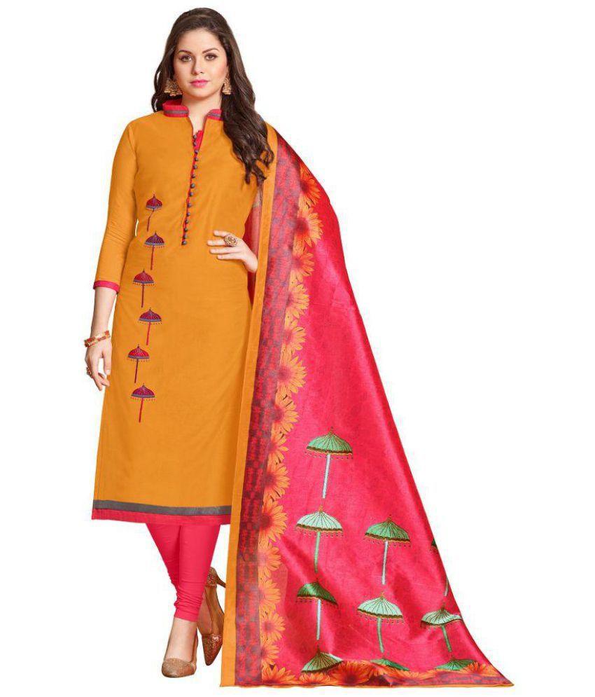 Kunish Orange Chiffon Dress Material