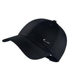 Nike Black Plain Polyester Caps