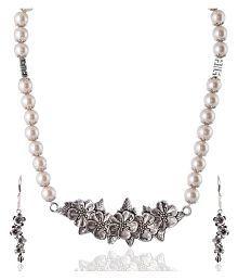 Rai Collection Women Fashion Designer White Beaded Silver Oxidized Strand Necklace Pendant Neckpiece Set w/ earrings/ Modern Stylish Classy Indian Festive Occasion Fancy Artificial Lightweight Jewelry