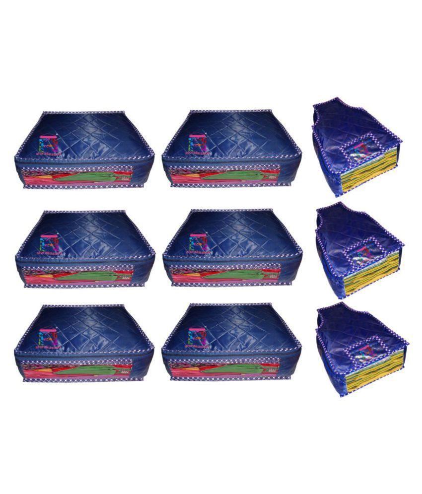 atorakushon Blue Saree Covers - 9 Pcs