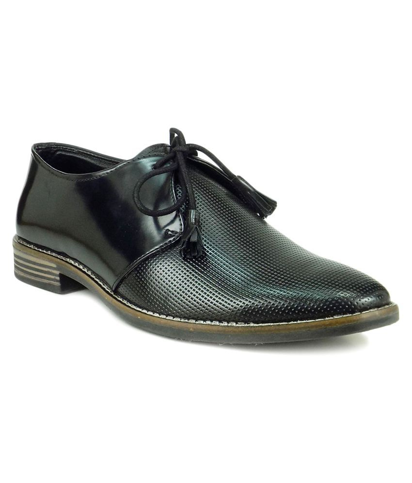 Ripley Derby Artificial Leather Black Formal Shoes