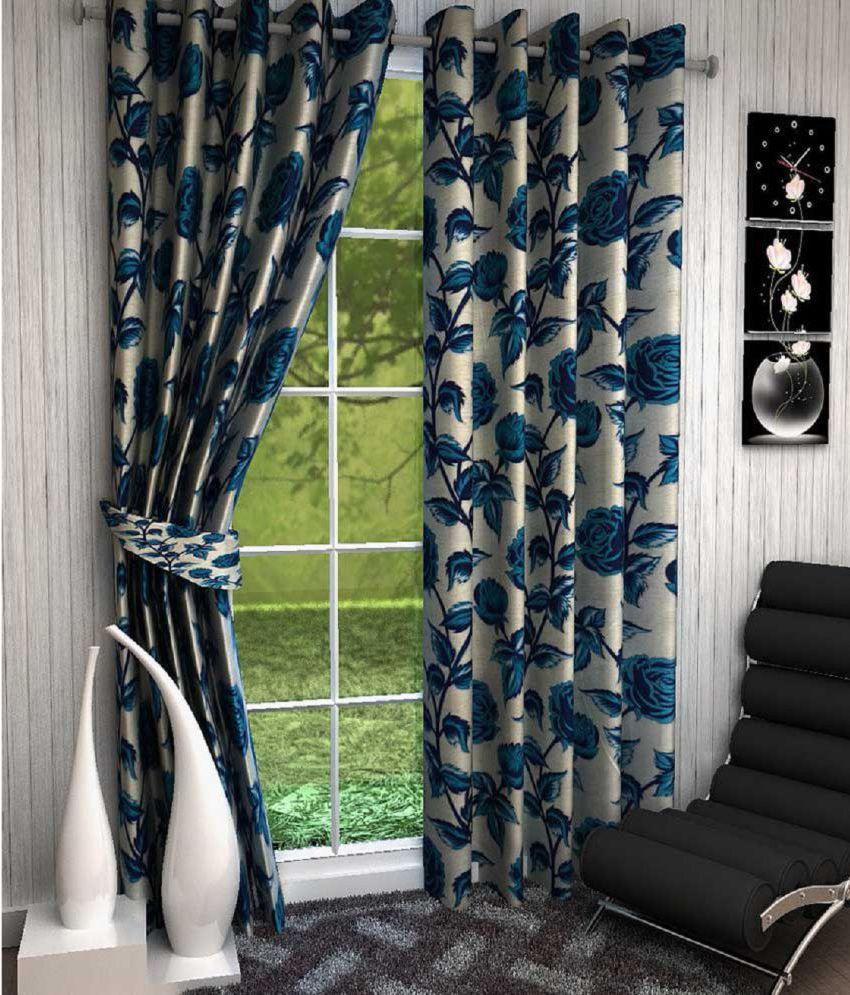 Tanishka Fabs Set of 2 Window Eyelet Curtains Printed Multi Color