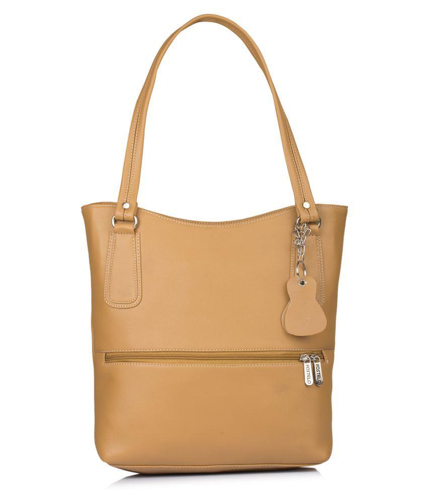 Fostelo Beige P.U. Shoulder Bag
