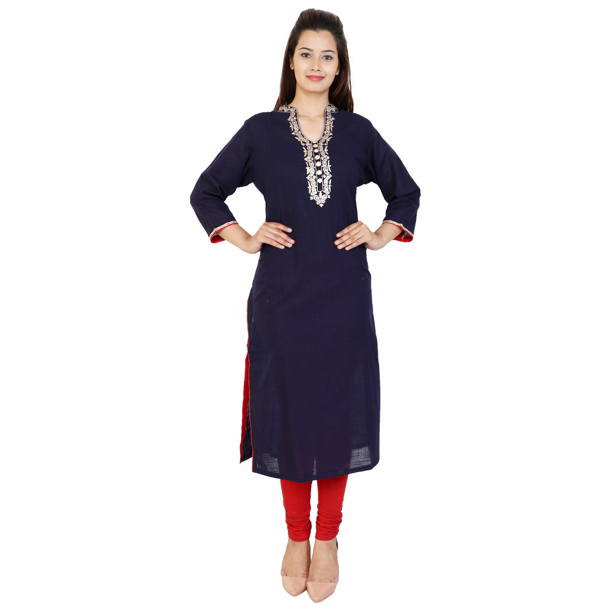 SURGANGA Blue COTTON Straight Kurti
