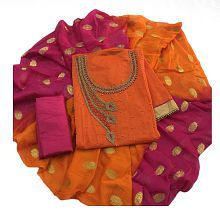 Kavya Shoping Orange Chanderi Dress Material