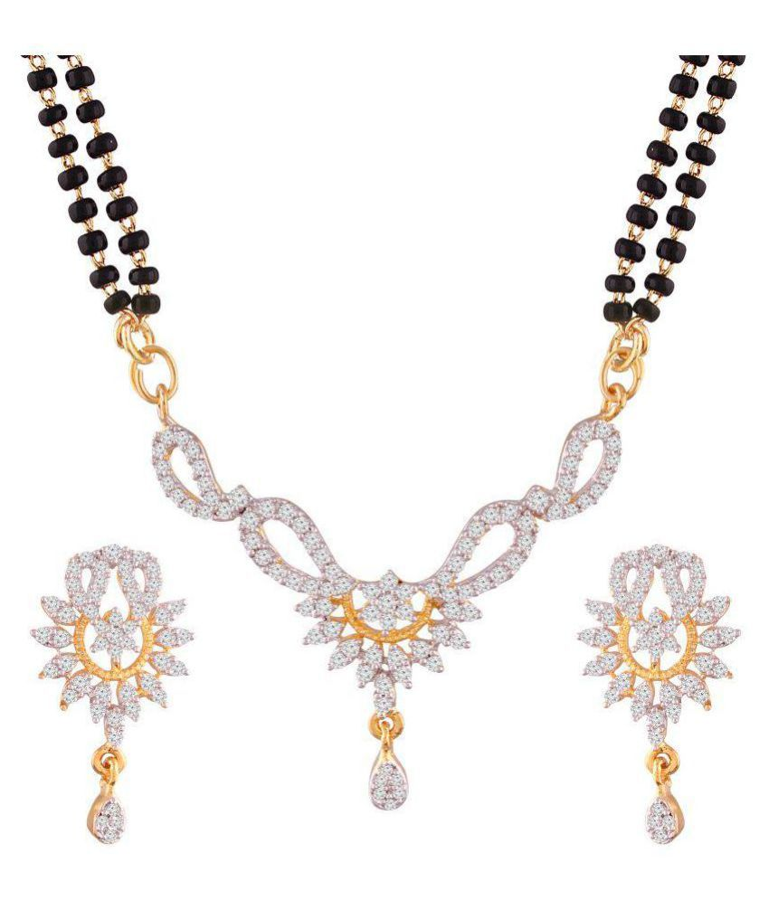 508974a0f I Jewels Traditional American Diamond Gold Plated Mangalsutra Jewellery set  with Earrings for Women (D064)  Buy I Jewels Traditional American Diamond  Gold ...