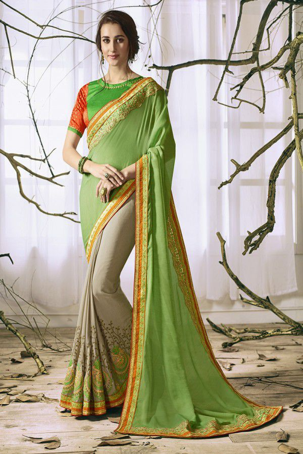 f4135eb96d IndianEfashion Green Georgette Saree - Buy IndianEfashion Green Georgette  Saree Online at Low Price - Snapdeal.com