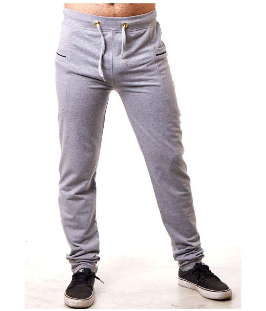 Rellin Grey Cotton Lycra Trackpants