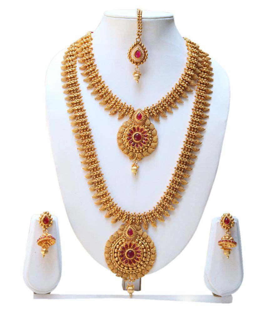 Antique Gold N Jadtar Set: Swarajshop Maroon Colour Gold Plated Antique Haram Rani