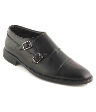 Vegan Basics Monk Strap Artificial Leather Black Formal Shoes