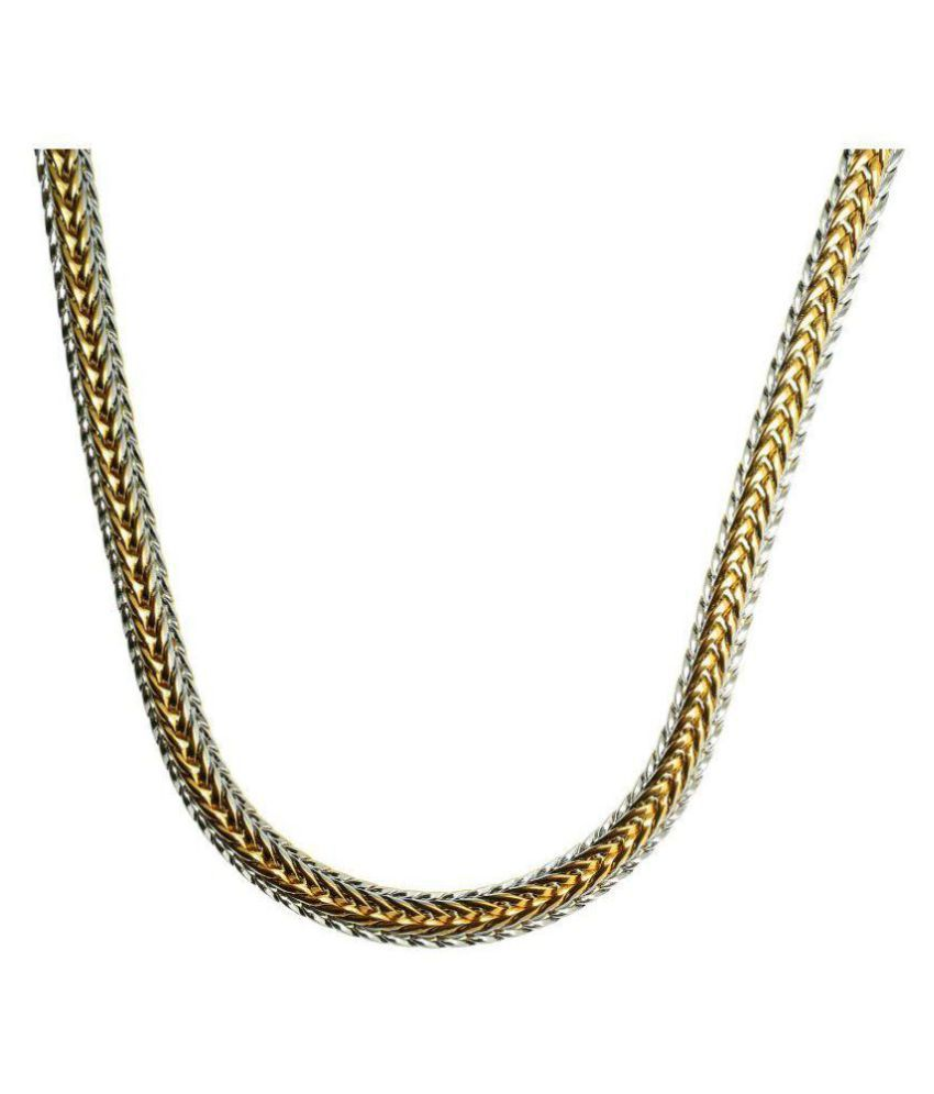BeBold Fashion Gold Stainless Steel Plated Multicolor Link Chain For Men Boys