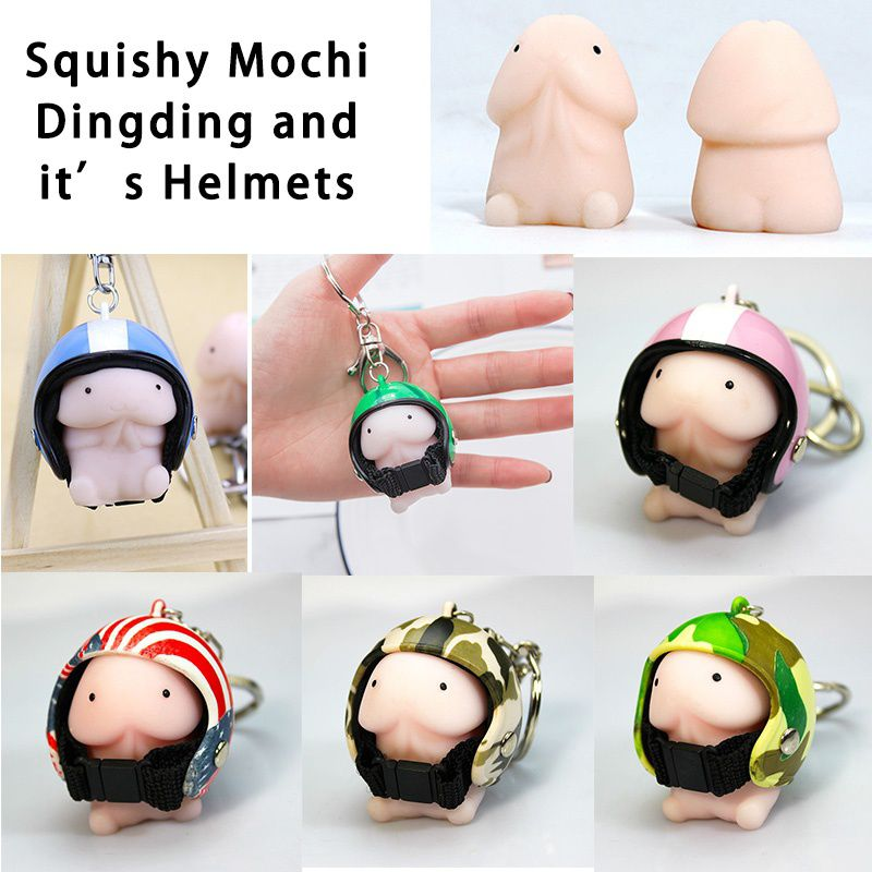 Squishy Ding Ding With C9 Helmet Cute Keychain