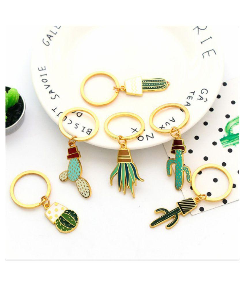 2pcs Korean Cute Cactus Key Ring Creative Exquisite Plant Meat Keychain Metal Cartoon Pendant