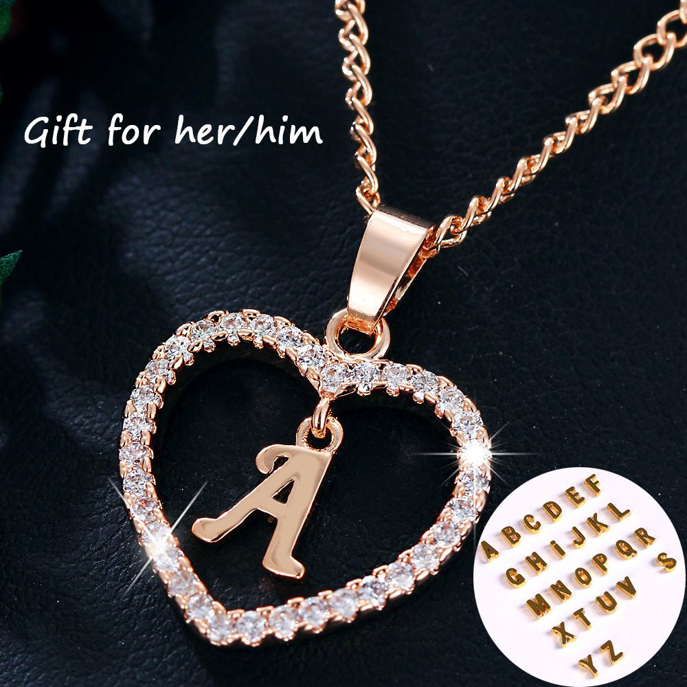 Exquisite 26 Letters Long Sweater Zircon Chain Pendant Necklace Love Heart Pendants for Women Collier Choker Necklaces Lovers Gift