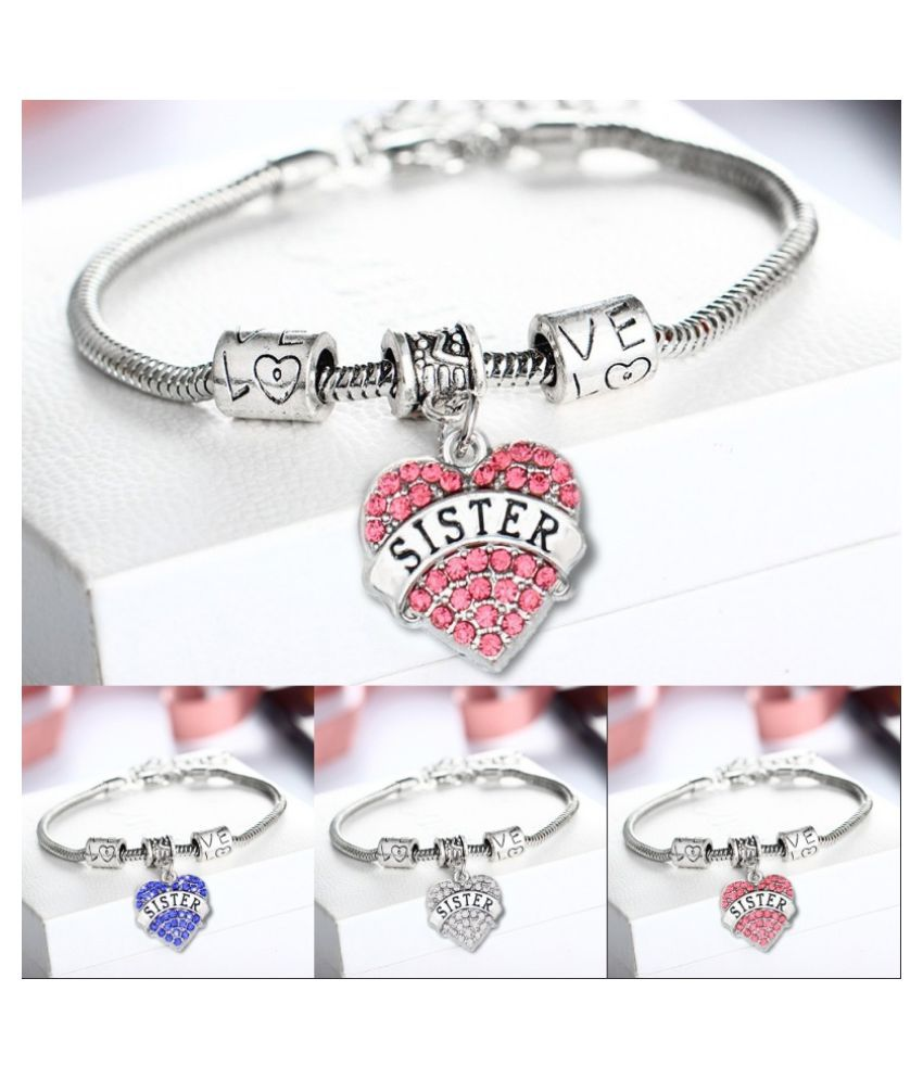 Women Fashion Jewelry Love Heart Crystal Rhinestone Pendant Sister Letter Necklace Chain Bracelet Gift