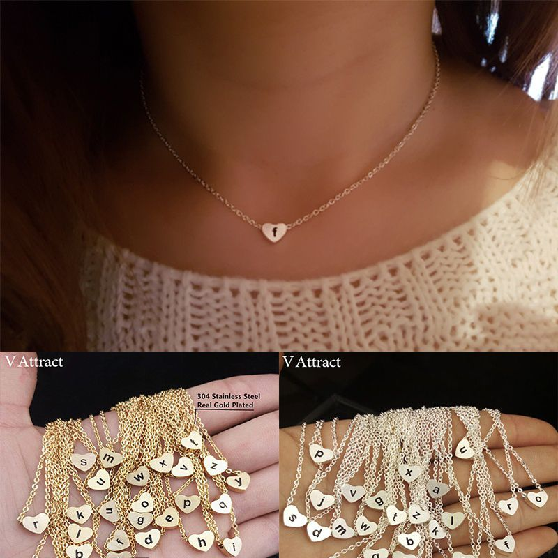 women's letter Chain Initial Choker Vintage Jewelry silver Gold age 15-35 girl women Heart Letter Charm Necklace